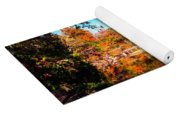 Old Mill House Pond In Autumn Fine Art Photograph Print With Vibrant Fall Colors Yoga Mat