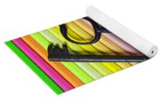 Old Skeleton Keys On Rows Of Colored Pencils Yoga Mat