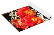 Orange Apricot Roses With Oil Painting Effect Yoga Mat