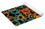 Orange Geometric Circle Segment Pattern Yoga Mat