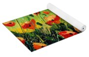 Orange Poppies  Yoga Mat