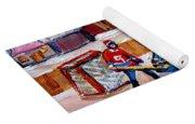 Outdoor Rink Hockey Game In The Village Hockey Art Canadian Landscape Scenes Carole Spandau Yoga Mat