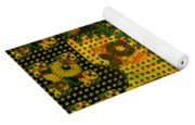 Painted Sunflower Abstract Yoga Mat