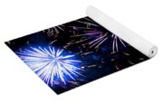 Pale Blue And Red Fireworks Yoga Mat