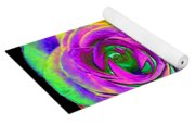 Pink Roses With Colored Foil Effects Yoga Mat