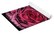 Pink Roses With Dark And Rough Chrome  Effects Yoga Mat