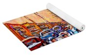 Pointe St.charles Hockey Game Near Winding Staircases Montreal Winter City Scenes Yoga Mat