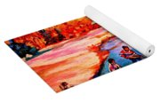 Pond Hockey Game By Montreal Hockey Artist Carole Spandau Yoga Mat