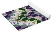 Purple And Green Patchwork Art Yoga Mat