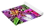 Purple And White Irises And Pink Flowers Yoga Mat