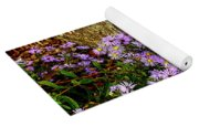 Purple Flowers At Base Of Tree Yoga Mat