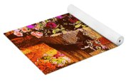 Purple Flowers In Rusty Bucket Yoga Mat