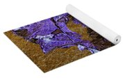 Purple Iris Gold Leaf Yoga Mat