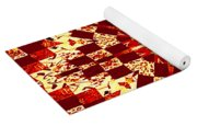 Red And White Patchwork Art Yoga Mat