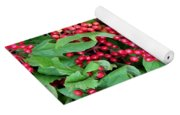 Red Berries And Green Leaves Yoga Mat