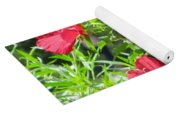 Red Hollyhocks Yoga Mat
