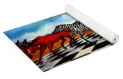 Red Horses With Zebra Yoga Mat