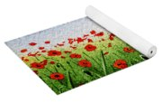 Red Poppies Green Field And A Blue Blue Sky Yoga Mat