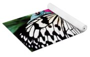 Rice Paper Butterfly On Pink Yoga Mat