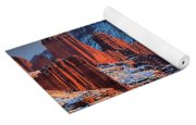 Snowy Fisher Towers Yoga Mat