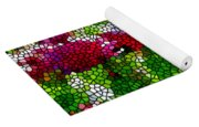 Stained Glass Chrysanthemum Flowers Yoga Mat