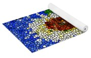 Stained Glass  Sunflower Over The Blue Sky Yoga Mat