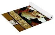 Stained Glass Template Sepia Flora Kalidescope Yoga Mat