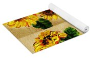 Sunflowers Pattern Country Field On Wooden Board Yoga Mat