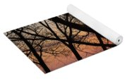 Sunrise Through The Chaos Of Willow Branches Yoga Mat