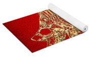 Surgeonfish Skeleton In Gold On Red  Yoga Mat