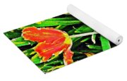 Three Orange Parrots  Yoga Mat