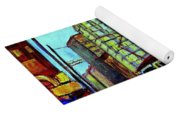 Umbrellas In The Rain Couples Stroll St.catherine Street Downtown Montreal Vintage  City Scene  Yoga Mat
