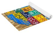 Usa License Plate Map Car Number Tag Art On Light Brown Stained Board Yoga Mat