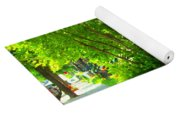 Verdun Stairs Red Flowers On Winding Staircase Tall Shade Tree Montreal Summer Scenes Carole Spandau Yoga Mat