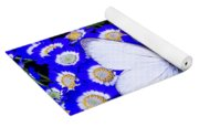 White Butterfly In Blue Flowers Yoga Mat