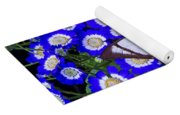 White Butterfly On Blue Cineraria Yoga Mat