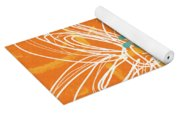 White Flower On Orange Yoga Mat
