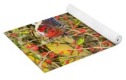 Wild Red Berrie Bush With Birds - Digital Paint Yoga Mat