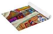 Winter Fun At Hockey Rink Magical Montreal Memories Rink Hockey Our National Pastime Falling Snow   Yoga Mat