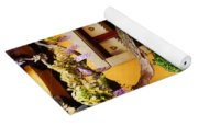 Wisteria And Yellow Wall In Alsace France Yoga Mat