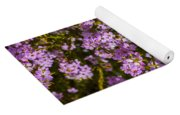 Yellow Butterfly On Pink Flowers Yoga Mat
