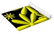 Yellow Flower Power 3d Digital Art Yoga Mat