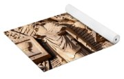 Carved Stone Biblical Mural Above Catholic Cathedral Doorway Yoga Mat