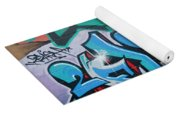 Abstract Graffiti On The Textured Wall Yoga Mat