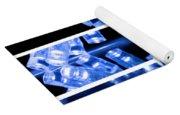 Blue Led Lights In Three Strips Yoga Mat