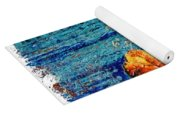 Blue Rusted Steel Painted Background Yoga Mat