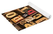 Box Of Old Wooden Type Setting Blocks Yoga Mat