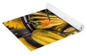 Colorful Gourds In Basket Yoga Mat