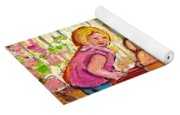Paintings For Children - Boy - Girl - Red Wagon And Puppies Yoga Mat