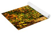 Picnic Table With Autumn Leaves Yoga Mat